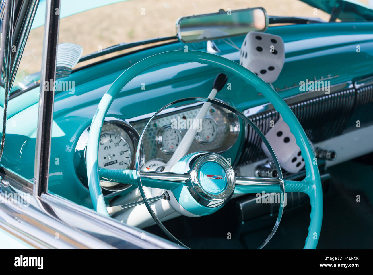 Massachusetts, Gloucester, Antique Car Show, fuzzy dice Stock Photo ...