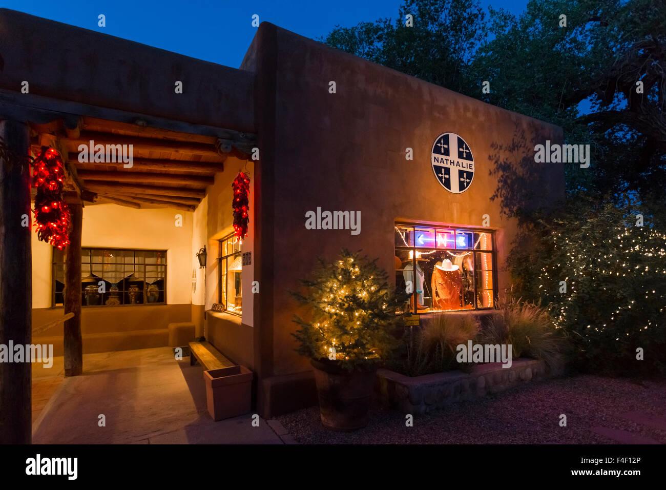 outside nathalie, canyon road, santa fe, new mexico. usa stock