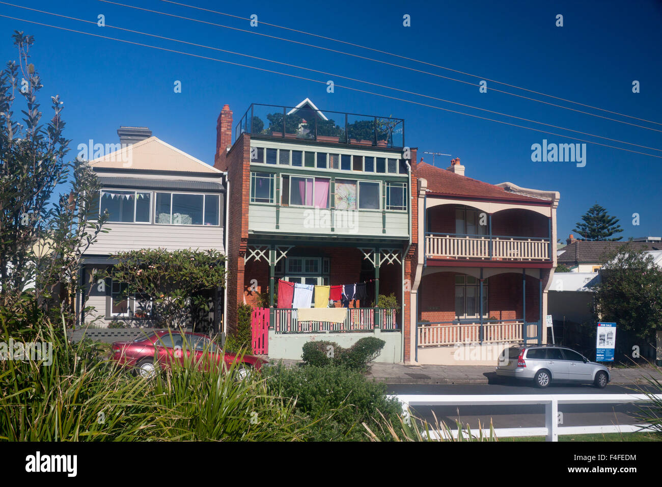 Historic Houses Different Architectural Styles One With Verandah Newcastle New South Wales NSW Australia