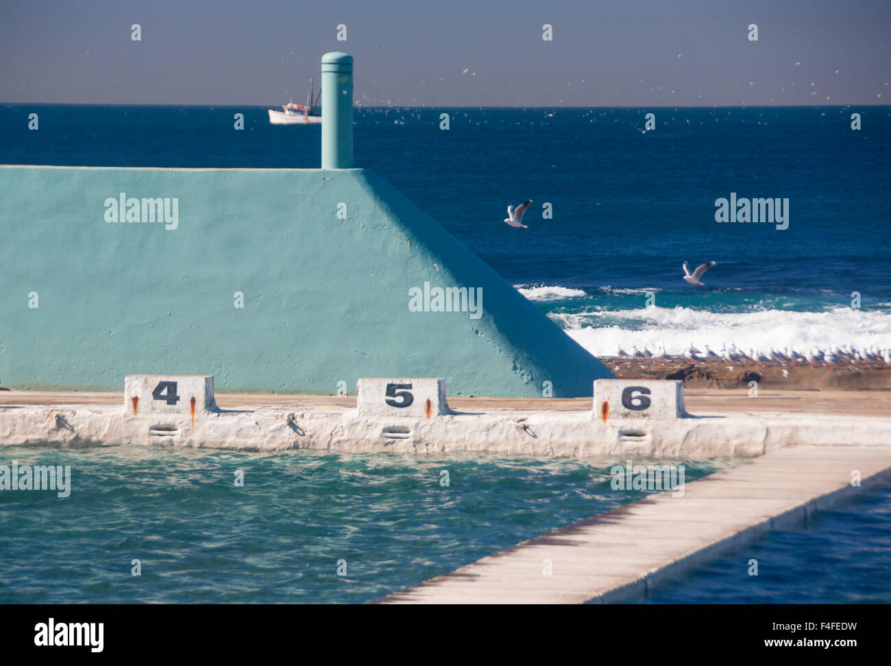 Ocean Baths Outdoor Open Air Swimming Pool Newcastle New South Wales Stock Photo Royalty Free