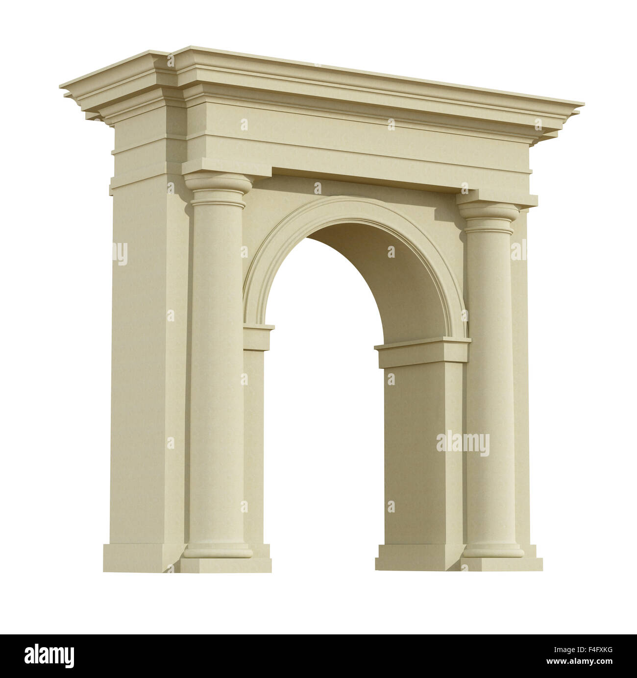 Perspective View Of A Classic Arch In Tuscany Order Isolated On White