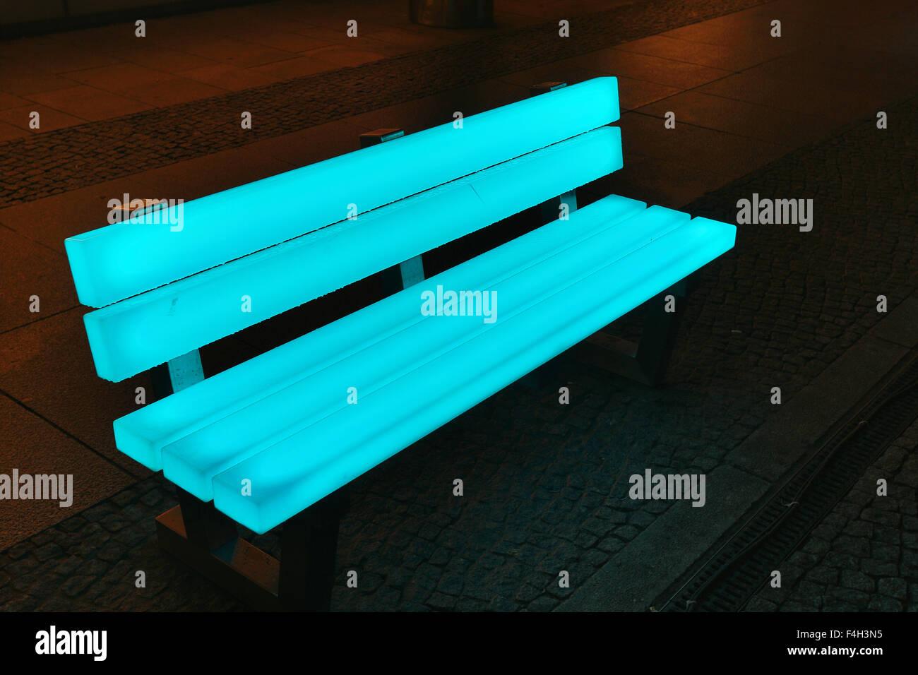 Led Light Bench : Berlin festival of lights led bench stock photo royalty
