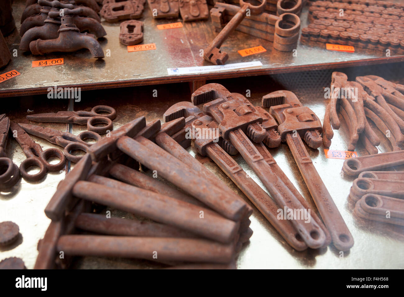 London, UK. 18th October 2015 - Tools made of chocolate Stock ...