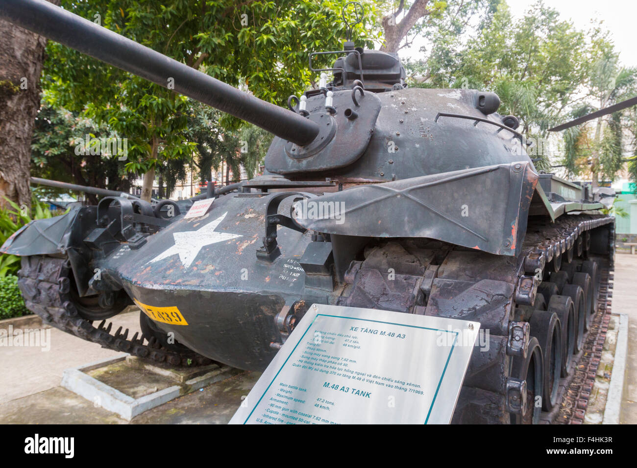 Vietnam war remnants museum in ho chi minh city showing american tank stock image