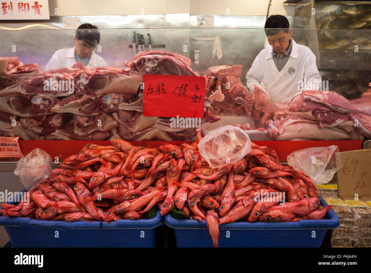 Butcher 39 s shop red fish in front chinatown san for Fishing store san francisco