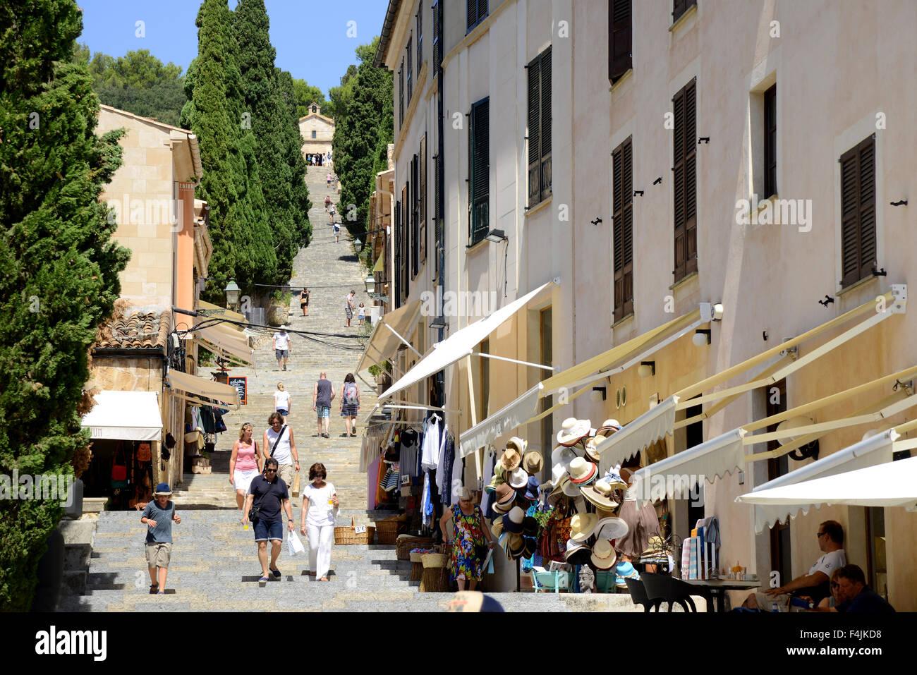 Calvari Steps, Pollensa, Pollenca, Majorca, Mallorca, Balearic Stock Photo, R...