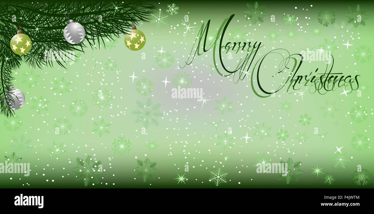Christmas banner background with branches and snowflakes Stock ...