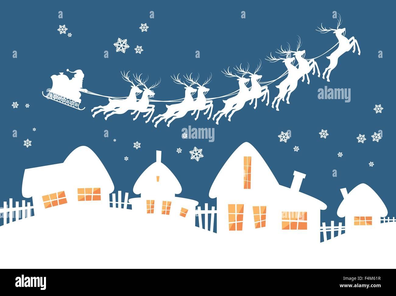 Santa Claus Sleigh Reindeer Fly Sky Over House Christmas