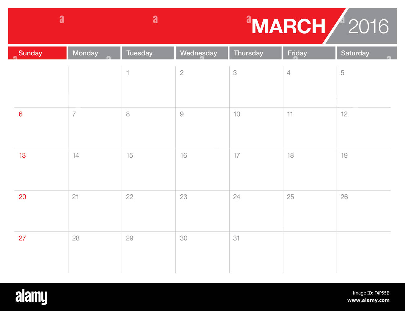 Table Calendar 2016 : Simple table calendar for year stock photo royalty