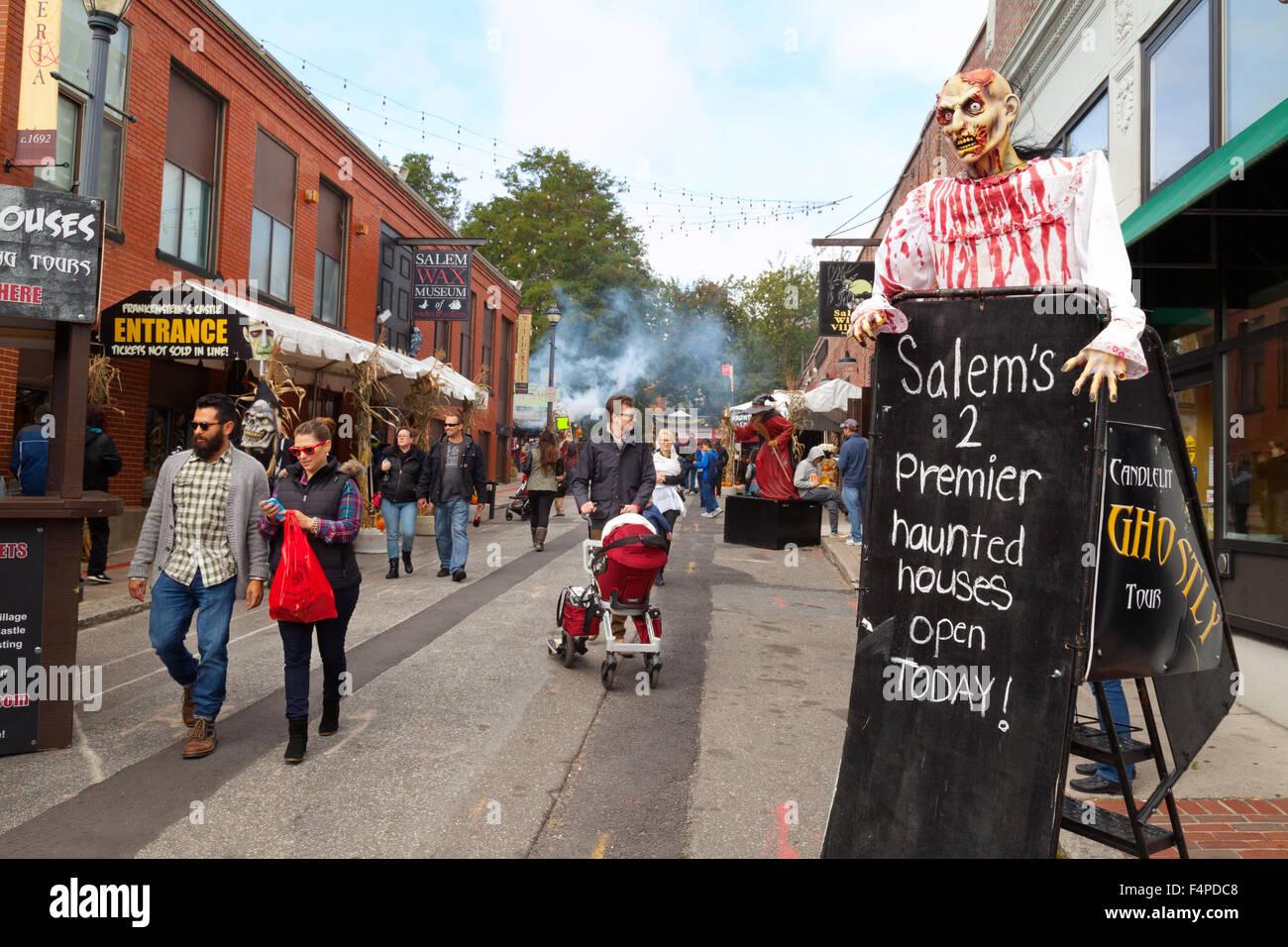 People in the street at Halloween, Salem, Massachusetts USA Stock ...