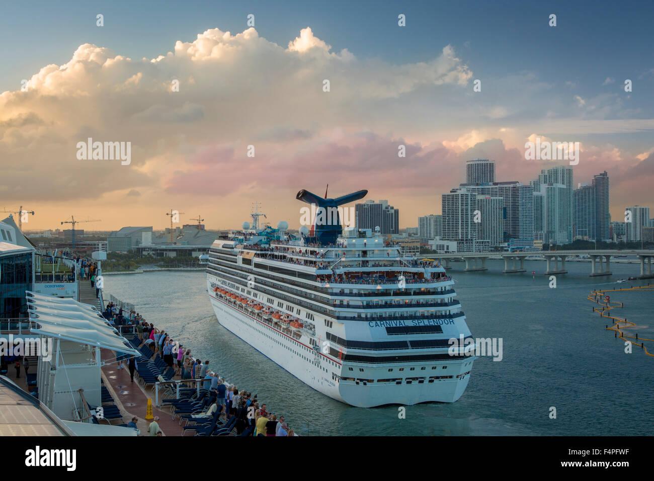 Carnival Splendor Cruise Ship Leaving Port In Miami Florida USA - Cruise ship port in miami