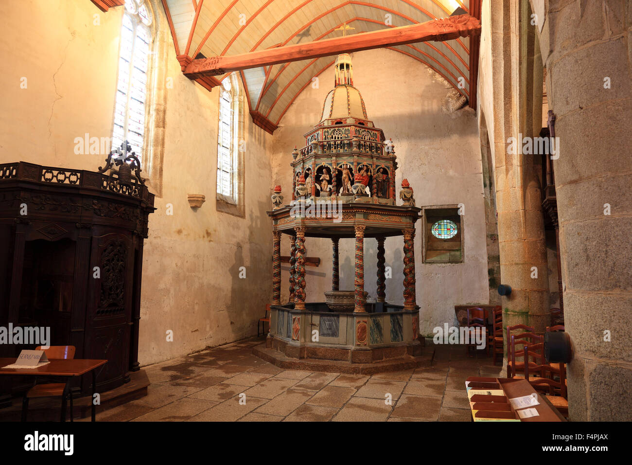 France Brittany L&aul-Guimiliau church Notre-Dame Baptismal font with canopy inside the church & France Brittany Lampaul-Guimiliau church Notre-Dame Baptismal ...