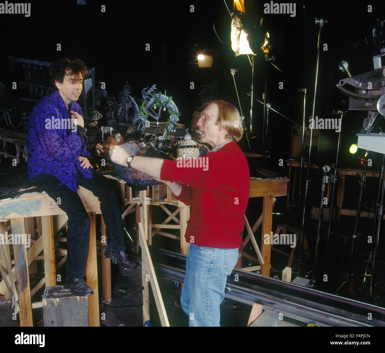 On the set, Tim burton with the director, Henry Selick / The Stock ...