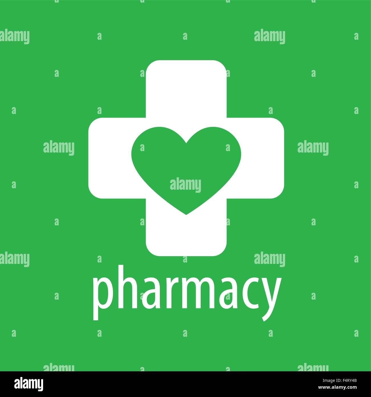 vector logo heart and cross for pharmacy stock vector art