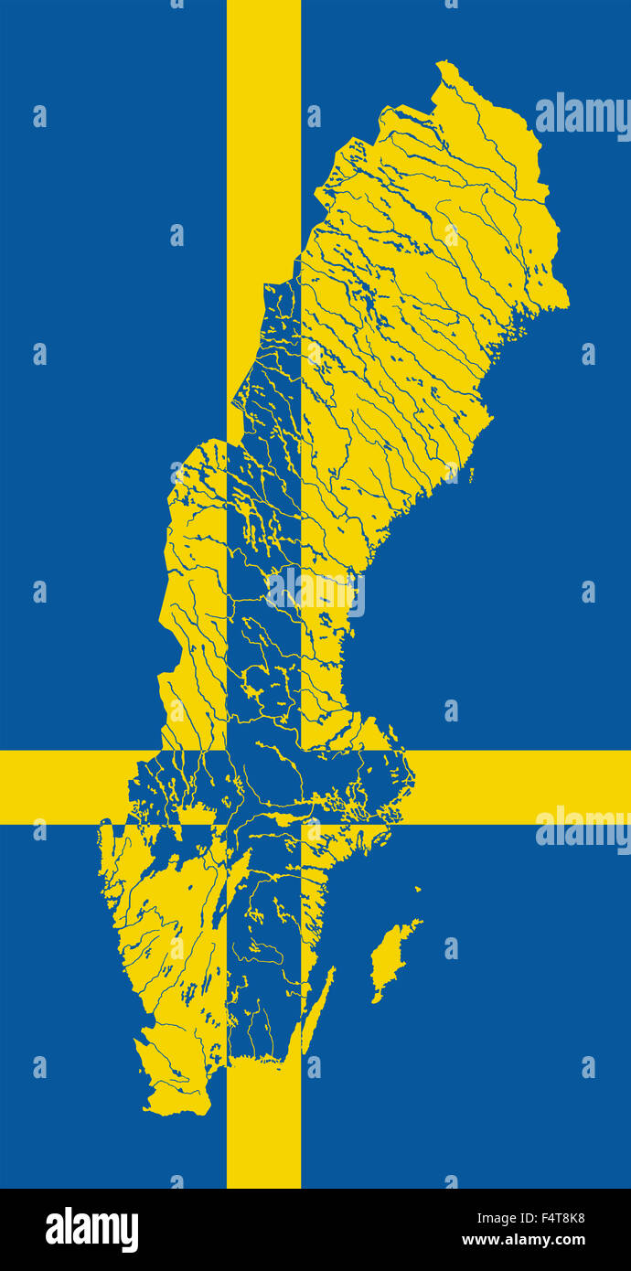 Map Of Sweden In Colors Of The Swedish Flag Colors Of Flag Are - Sweden map flag