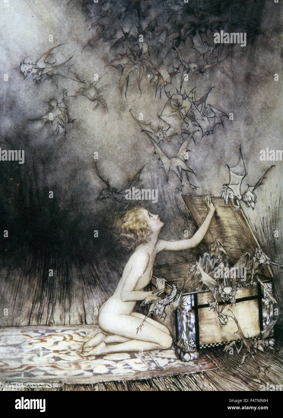 pandora s box stock photos pandora s box stock images alamy arthur rackham 1867 1939 english book illustrator pandora s box releases a horde