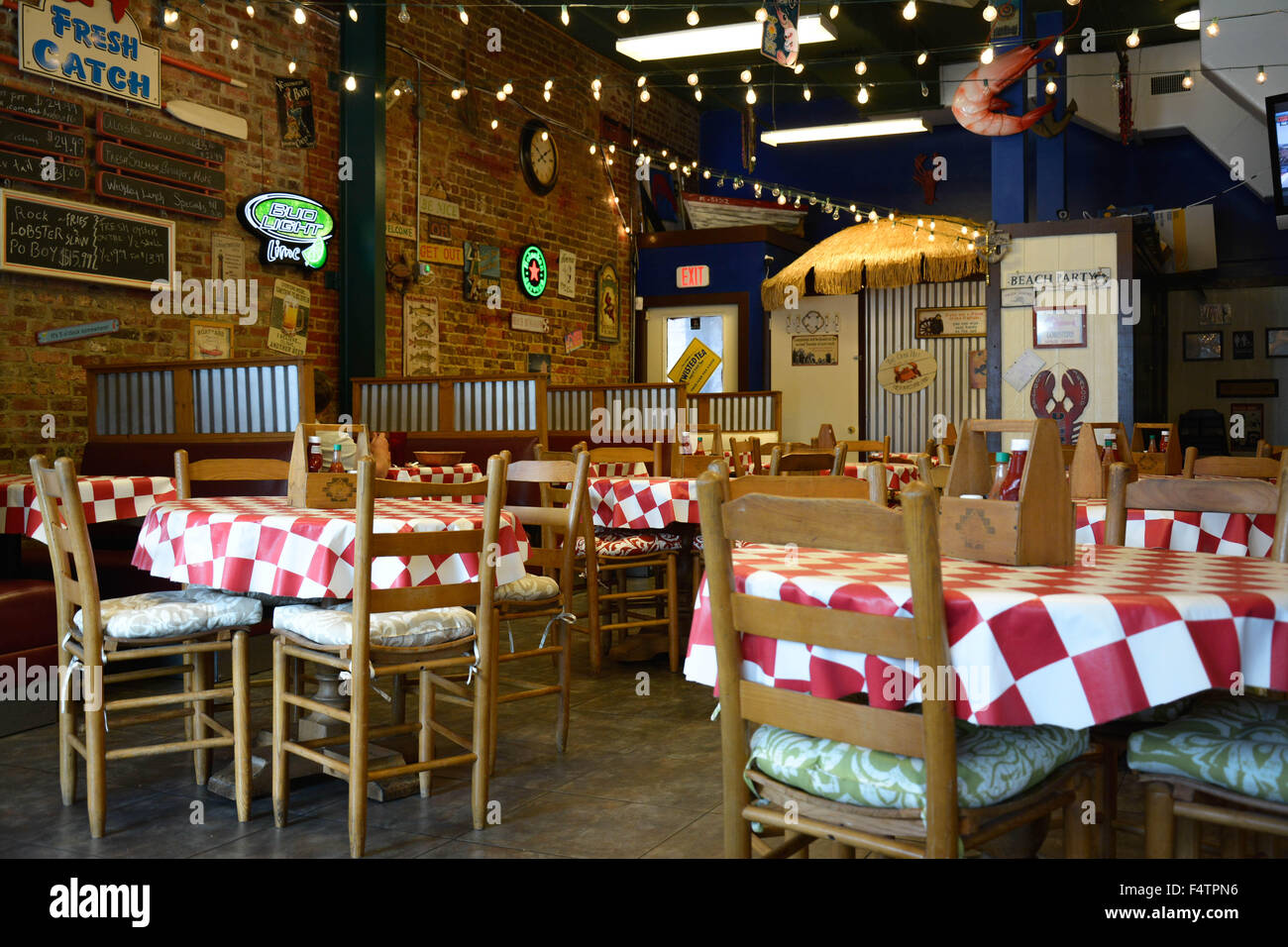 A retro and cool old historic rustic brick seafood