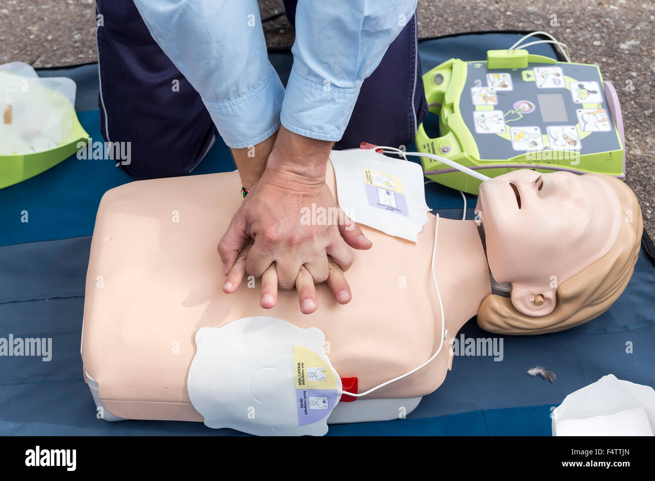 Thessaloniki greece oktober16 2015 the instructor showing cpr thessaloniki greece oktober16 2015 the instructor showing cpr on training doll free first aid cpr lessons given in the cent xflitez Gallery