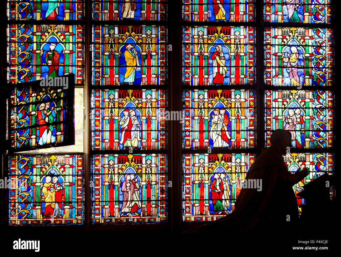 Famous Gothic Stained Glass Windows In Notre Dame Cathedral Paris France