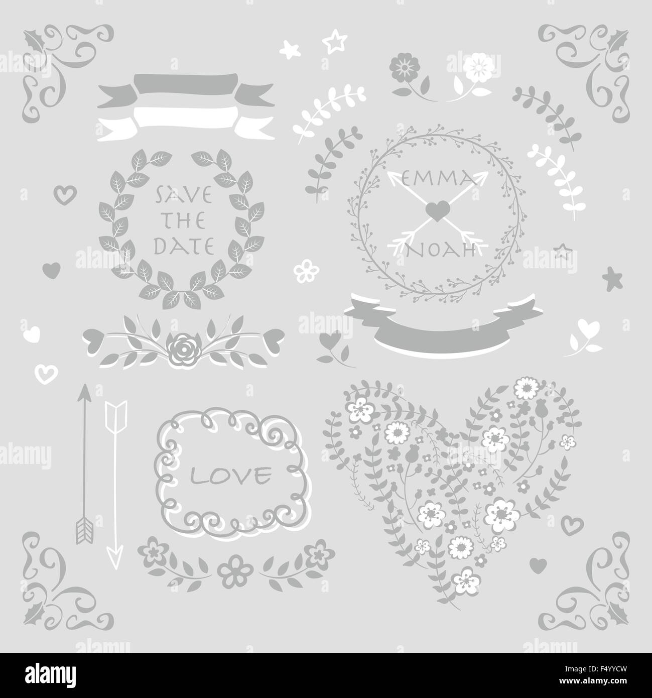 Silver and grey vector wedding design element symbol set stock silver and grey vector wedding design element symbol set buycottarizona