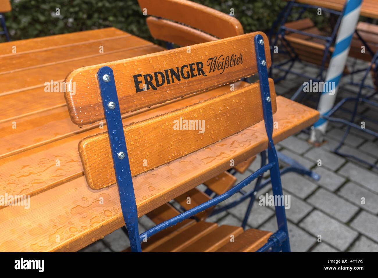 Beer Garden Chair With erdinger Wiessbier Printed On It Stock