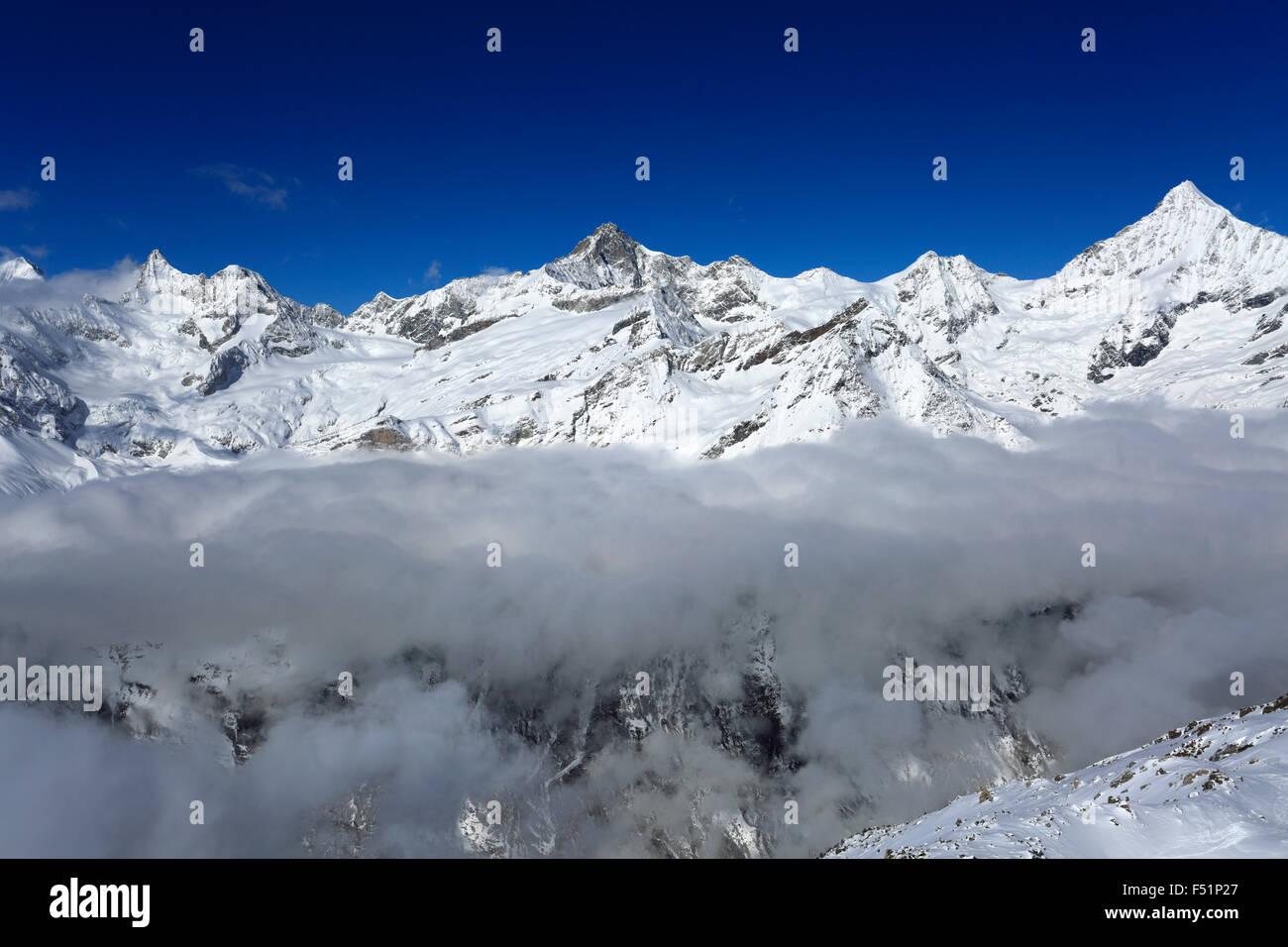 winter snow swiss alps mountain range zermatt ski resort valais stock photo royalty free