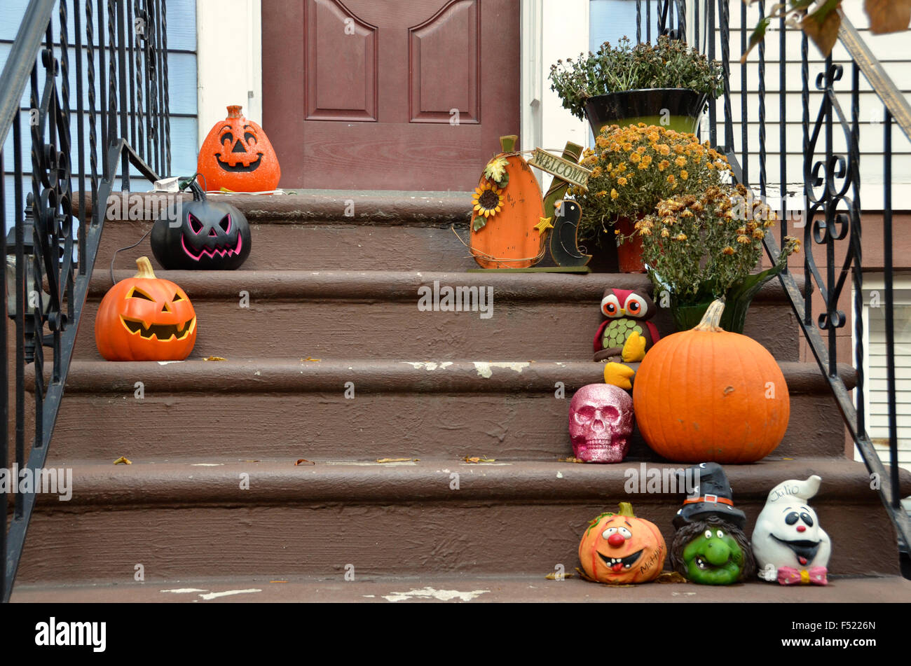 stock photo halloween decorations brooklyn park slope new york pumpkins for sale outside shop - Halloween Decorations On Sale