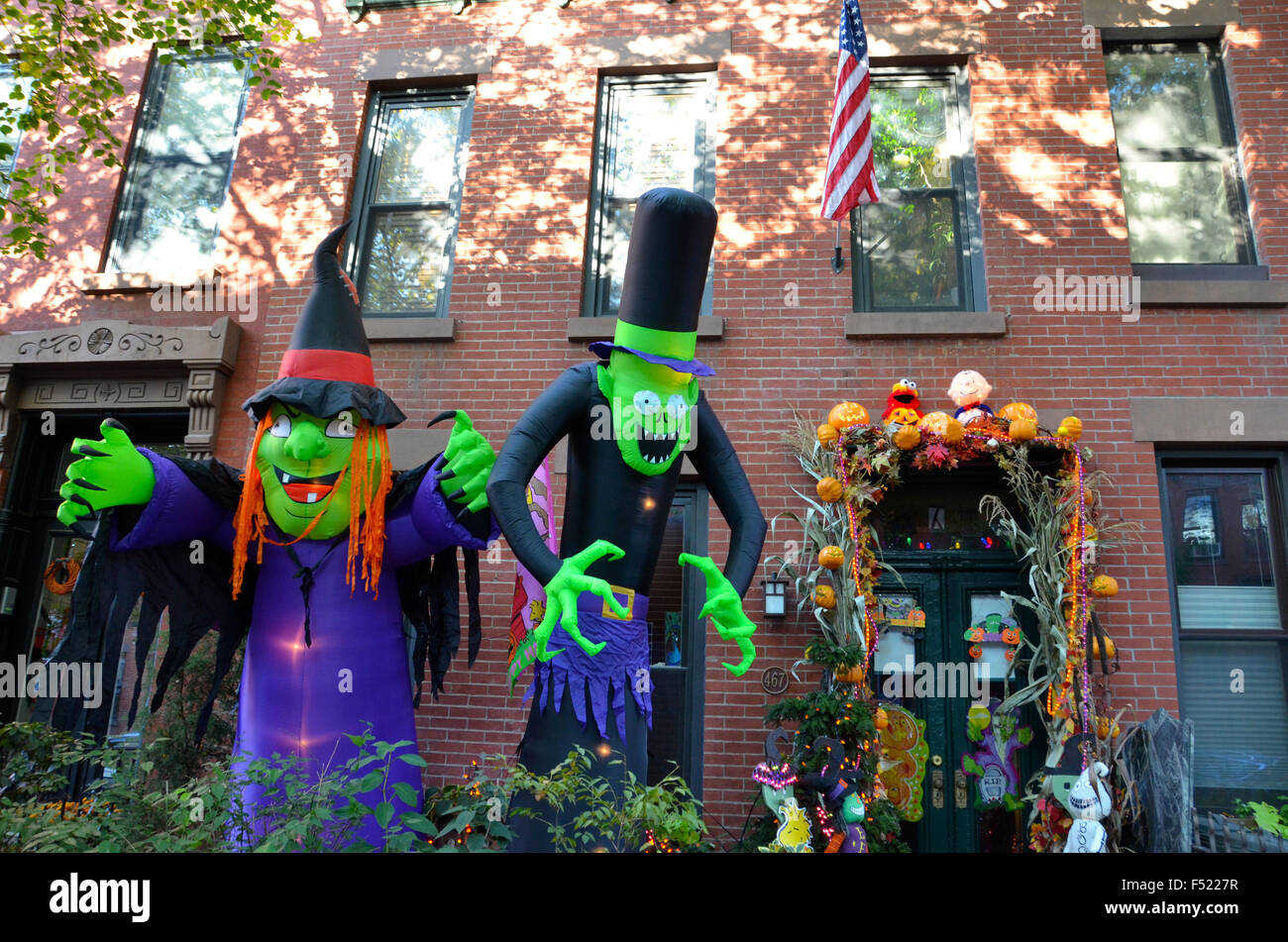 stock photo halloween decorations brooklyn park slope new york pumpkins for sale outside shop
