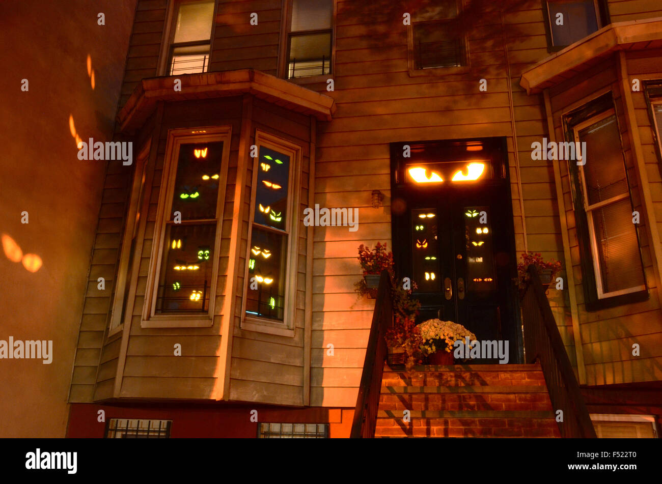 stock photo halloween decorations brooklyn park slope new york