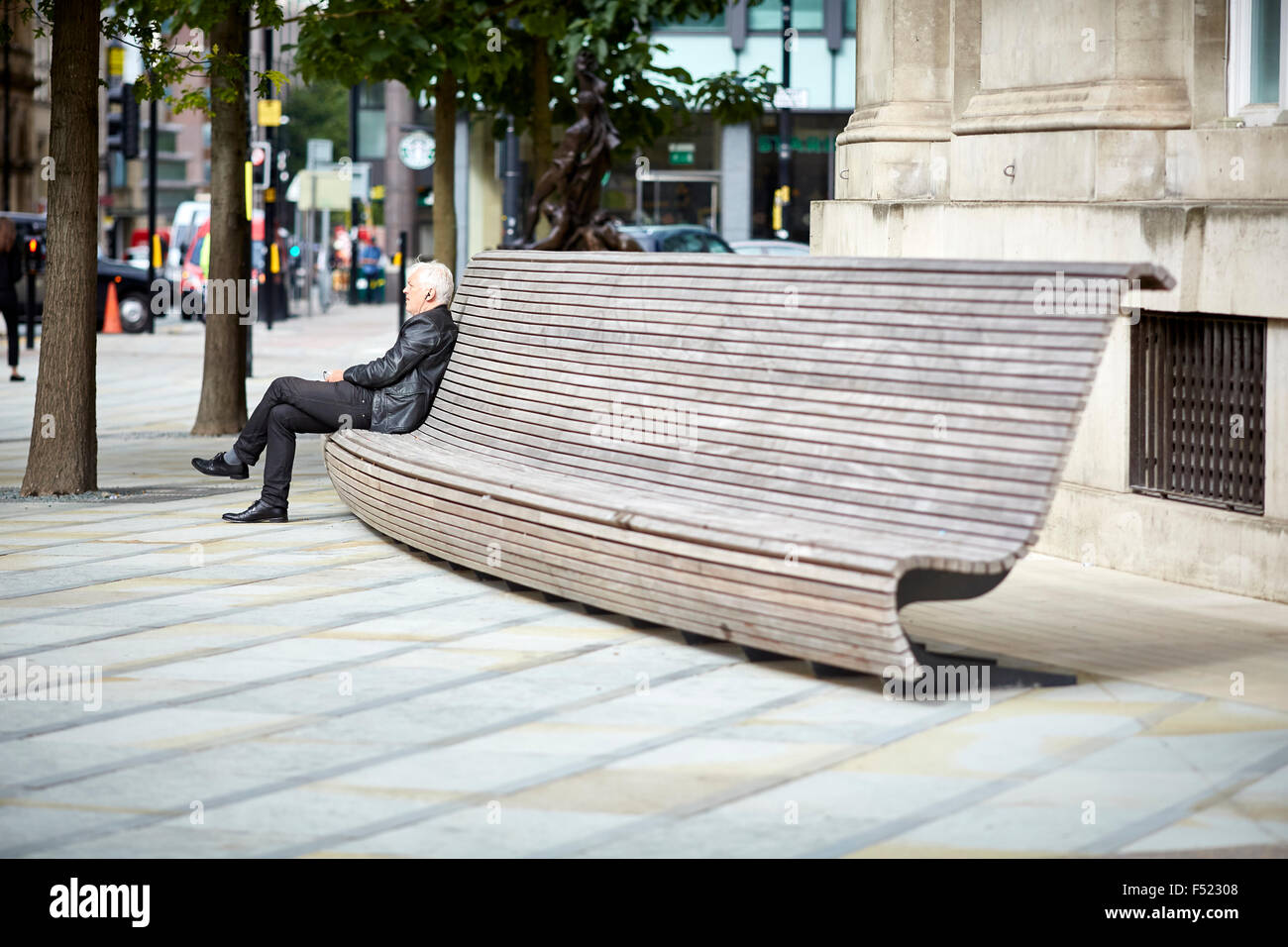 Modern Public Seating Benches Outside Manchester Central