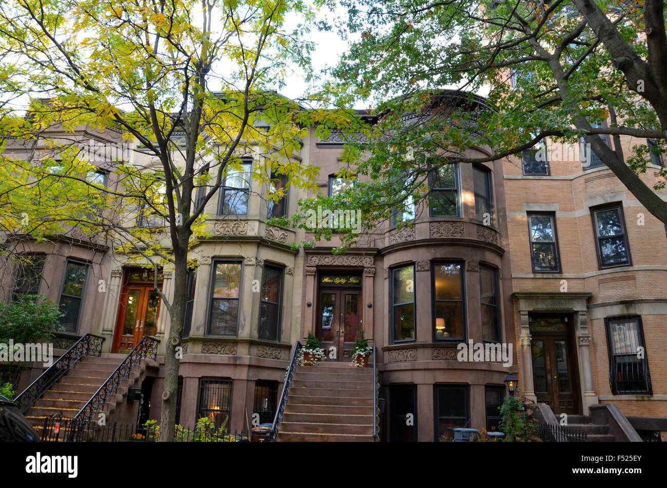brownstone houses park slope brooklyn ny stock photo
