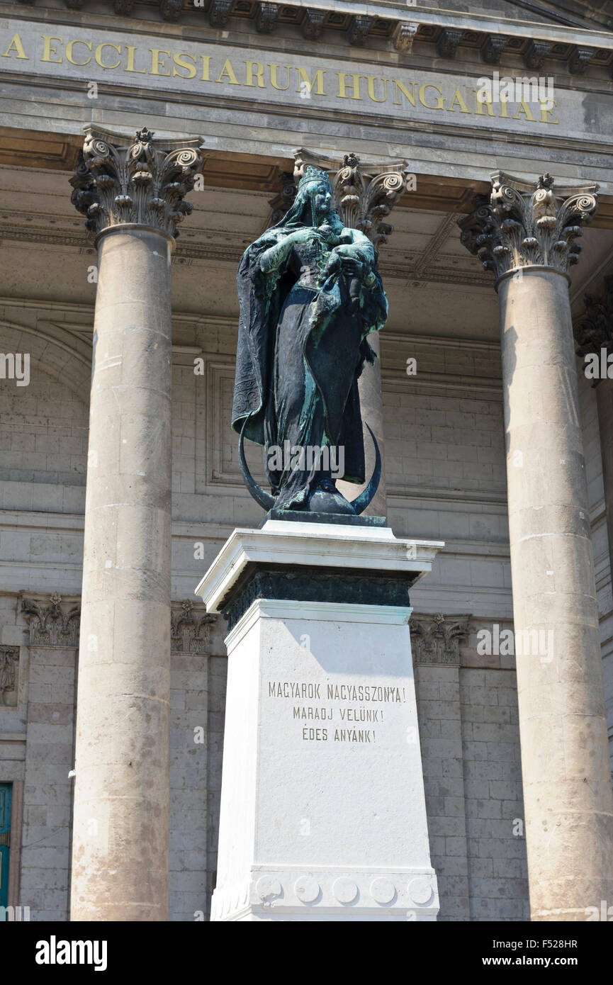 The Virgin Mary Statue In Front Of The Esztergom Basilica