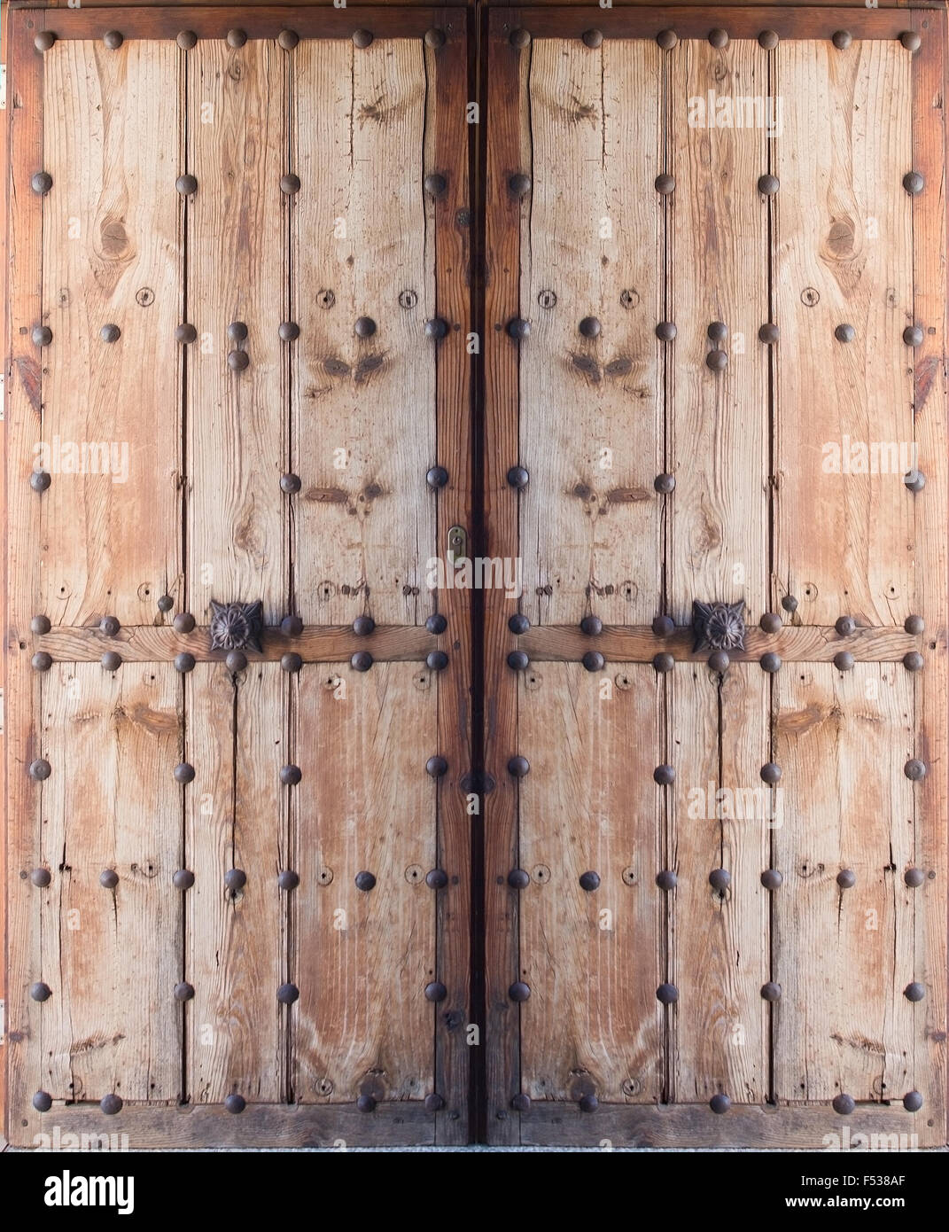 Double doors of antique wood and metal nails, Mallorca, Balearic islands,  Spain - Double Doors Of Antique Wood And Metal Nails, Mallorca, Balearic