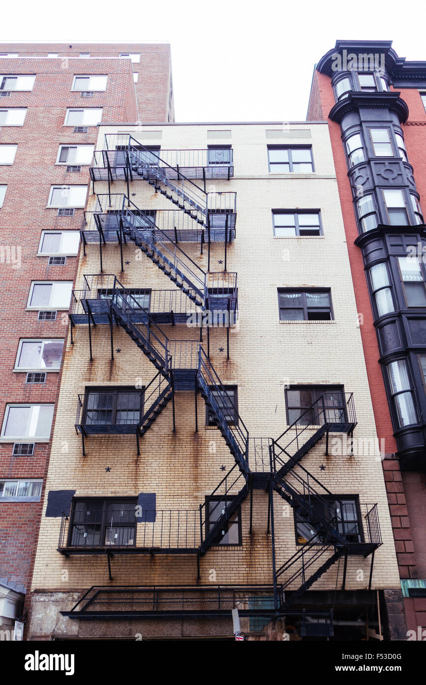 Stock Photo   Old Boston Building Outside Staircase Stairs
