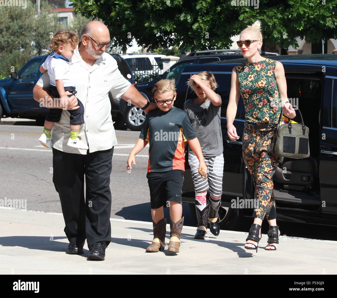 Gwen Stefani, Wearing No Wedding Ring, Is All Smiles As She Goes To Church  On Sunday Afternoon With Her Family Featuring: Gwen Stefani, Kingston  Rossdale, ...