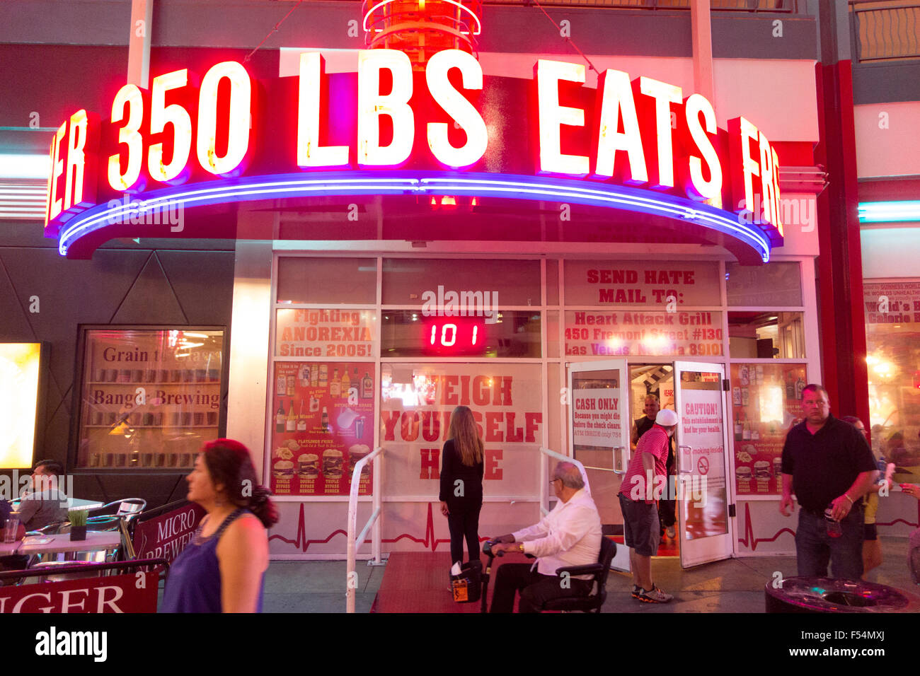 Heart Attack Grill, A Restaurant Catering To Diners Who Enjoy Red Meat And  Large Food Portions, On Fremont Street, Las Vegas USA