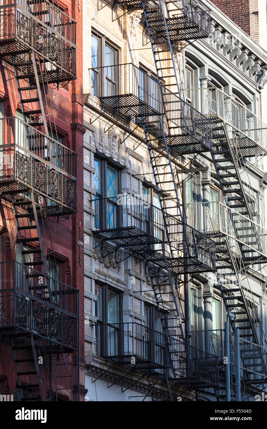 Apartment Building Fire Escape Ladder usa, america, escape, ladder, new york, fire, stairs, house stock