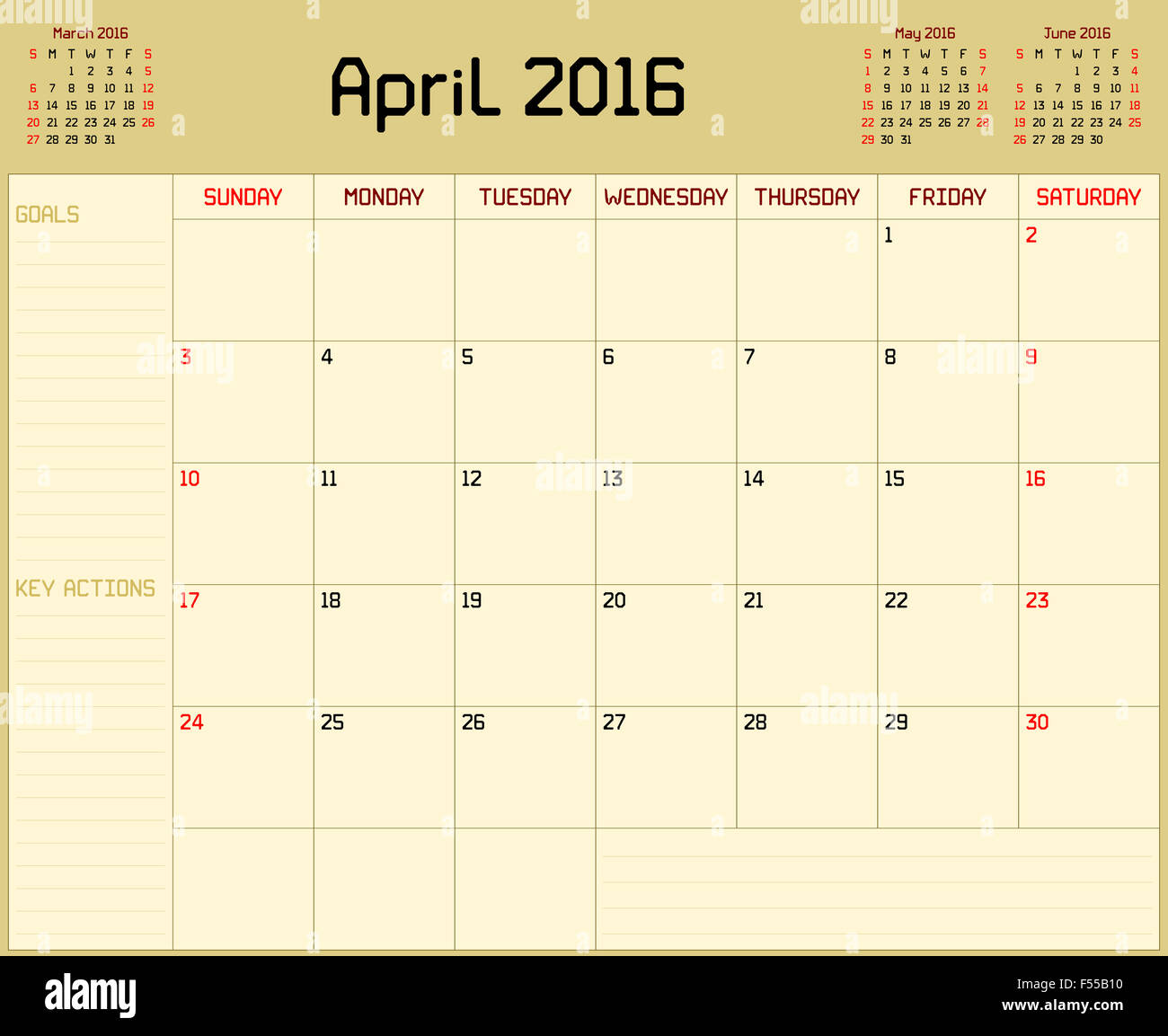 Monthly Calendar Background : A monthly planner calendar for april on yellow