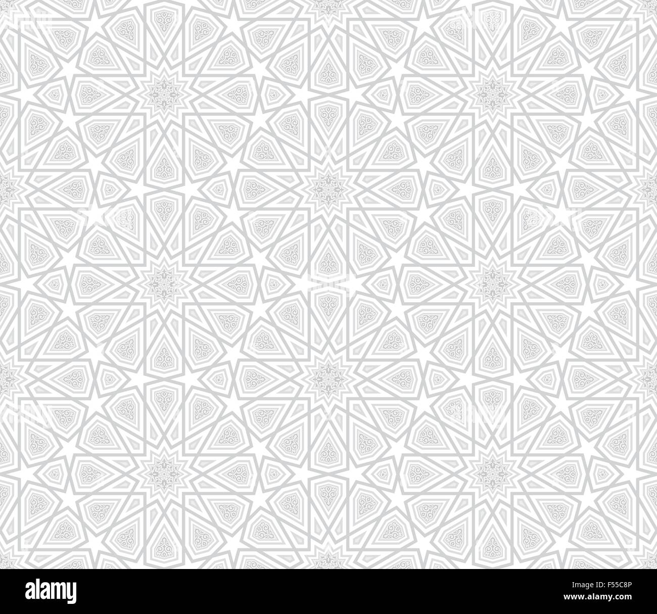Arabesque Star Pattern Light Grey Background Vector