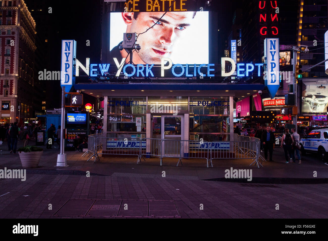 New york police department nypd times square at night midtown manhattan new york city united states of america