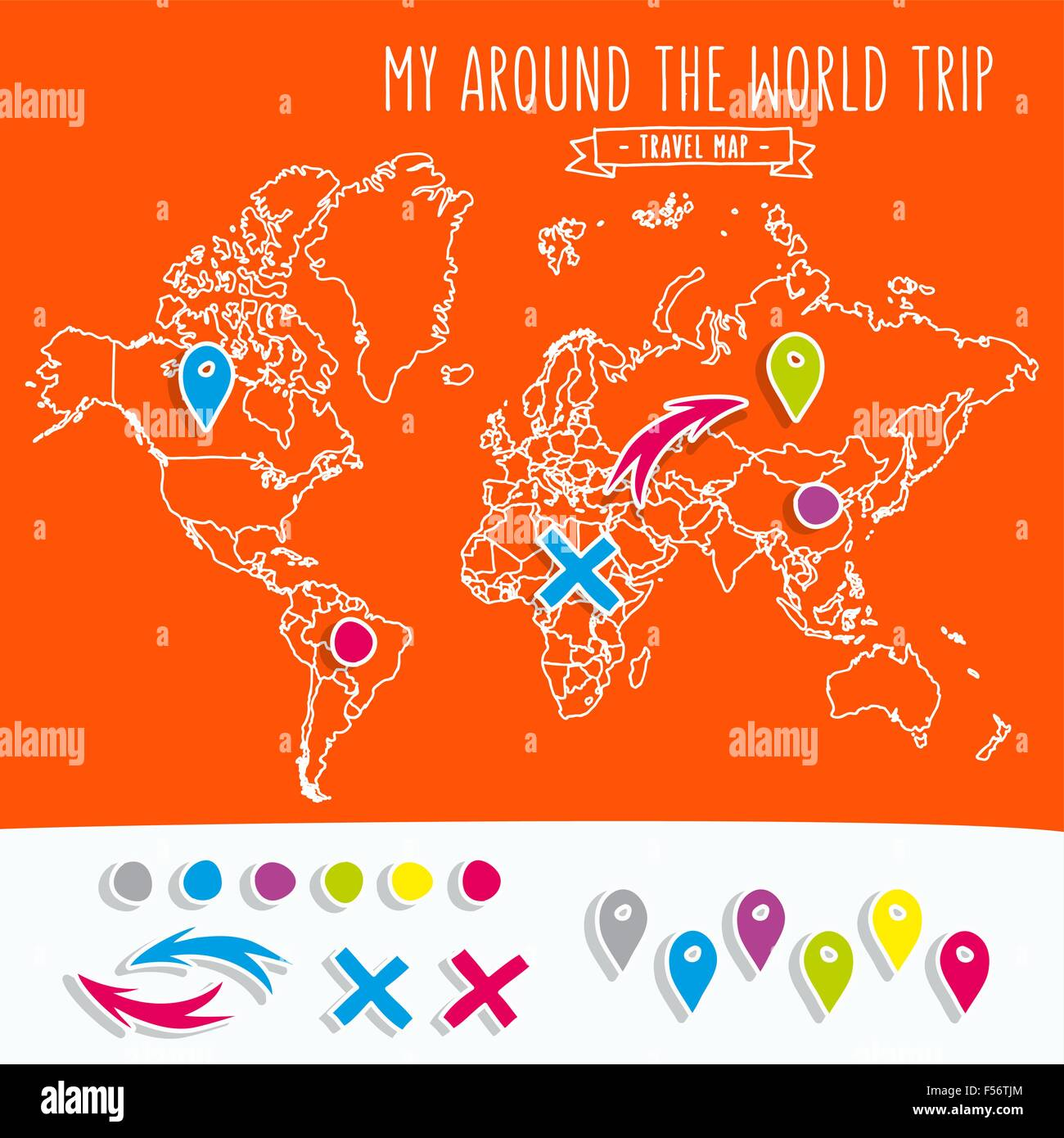 Hand Drawn World Map With Pins And Arrows Vector Design Cartoon – Travel World Map With Pins
