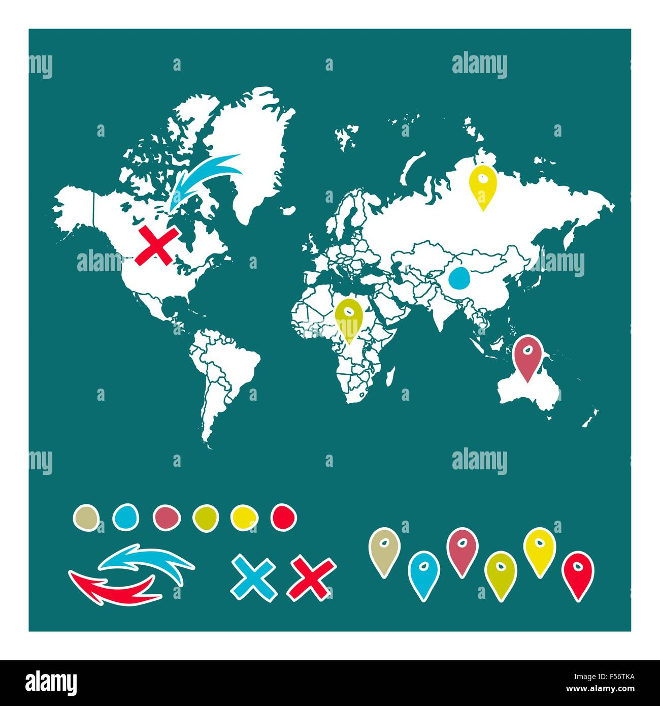 Hand drawn world map with pins and arrows vector design cartoon hand drawn world map with pins and arrows vector design cartoon style atlas illustration sciox Choice Image