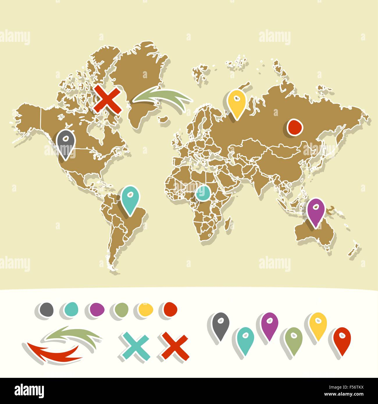 Hand drawn world map with pins and arrows vector design cartoon hand drawn world map with pins and arrows vector design cartoon style atlas illustration travel poster template gumiabroncs Image collections