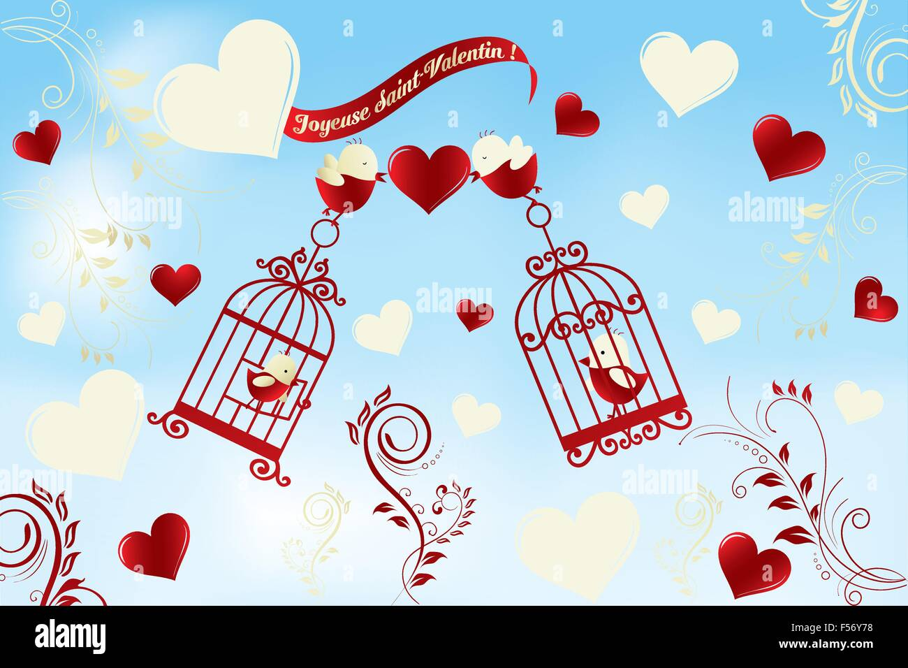 Table Saint Valentin dedans valentine's day card in french - joyeuse saint-valentin - birds in