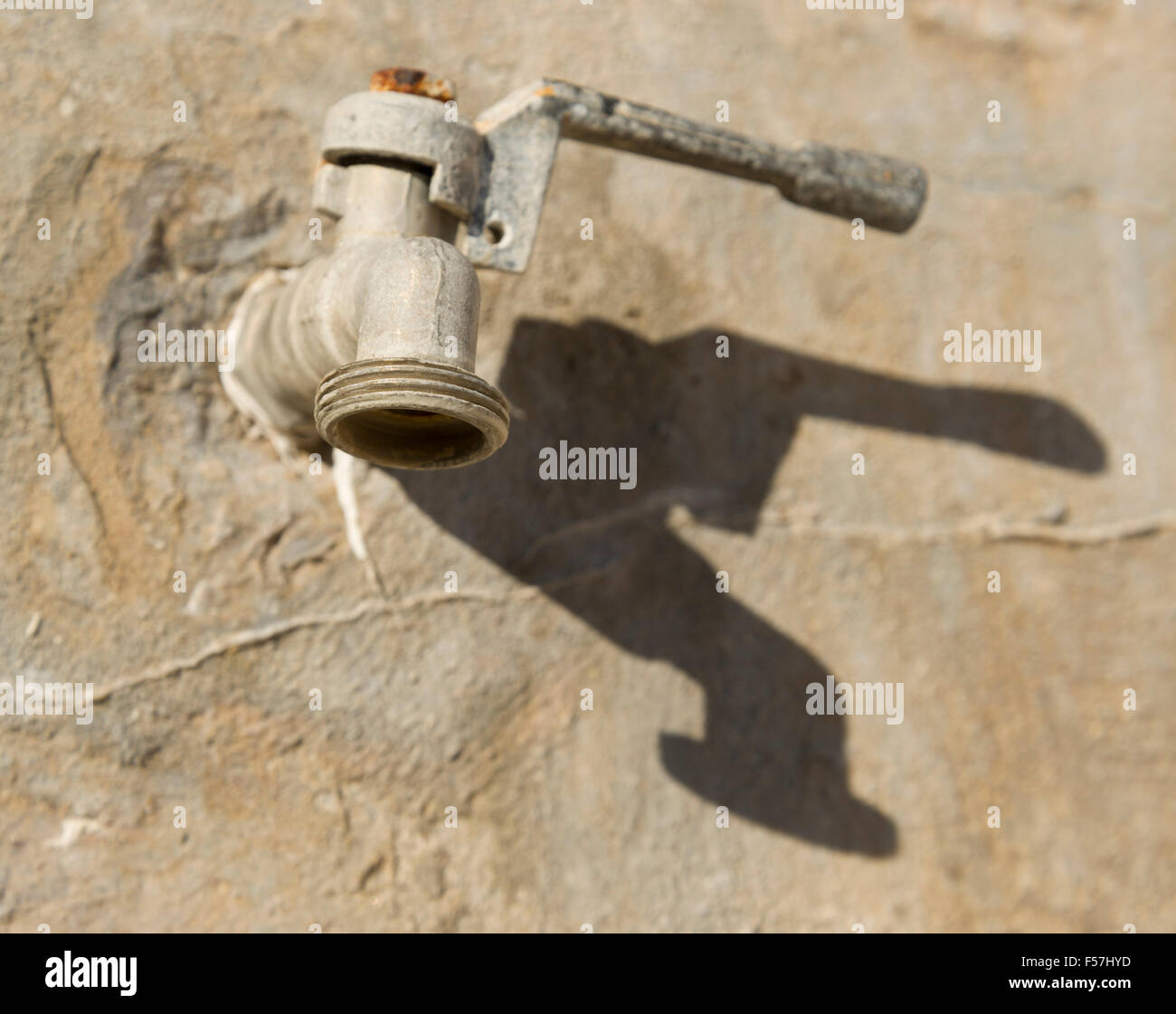 Lever ball valve tap. Tap handle, to shut off or open water flow ...