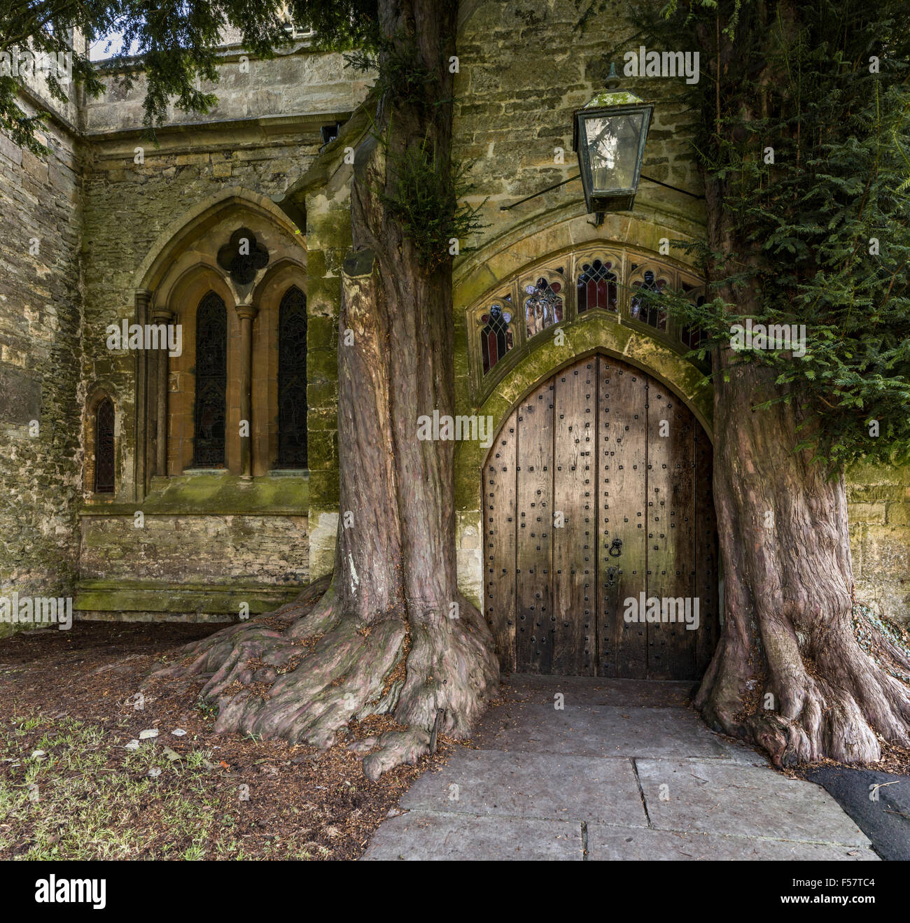 The north door of St Edwards church with two ancient yew trees either side Stow on the Wold Gloucestershire England UK & The north door of St Edwards church with two ancient yew trees ... pezcame.com