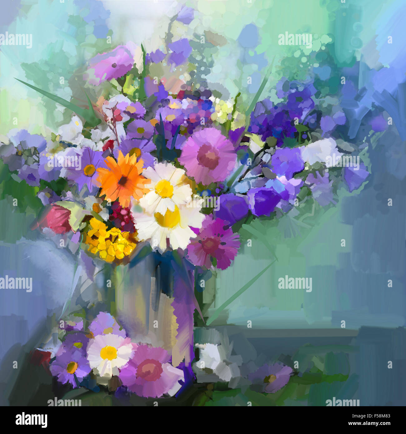 Still life a bouquet of flowers oil painting daisy flowers in still life a bouquet of flowers oil painting daisy flowers in vase hand painted floral in soft color and blurred style green c floridaeventfo Images
