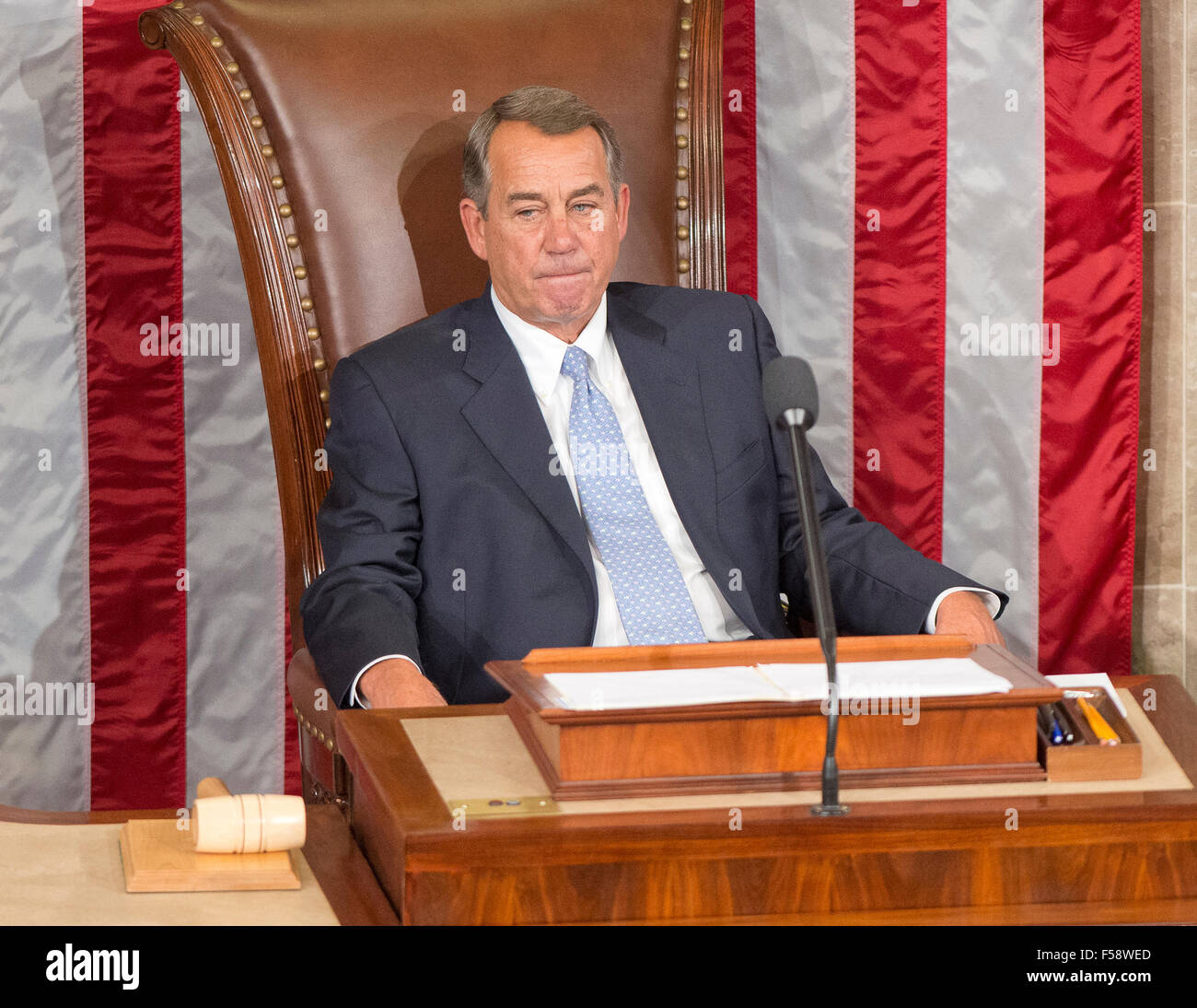 Outgoing Speaker Of The United States House Of Representatives John Boehner Republican Of Ohio Appears Lost In Thought As He Sits In