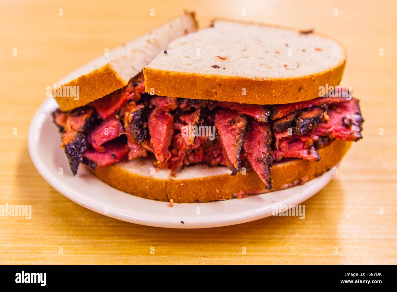 Pastrami Salt Beef On Rye Bread Sandwich At Katz S Deli A Delicatessen Diner On The Lower East Side New York City U S A