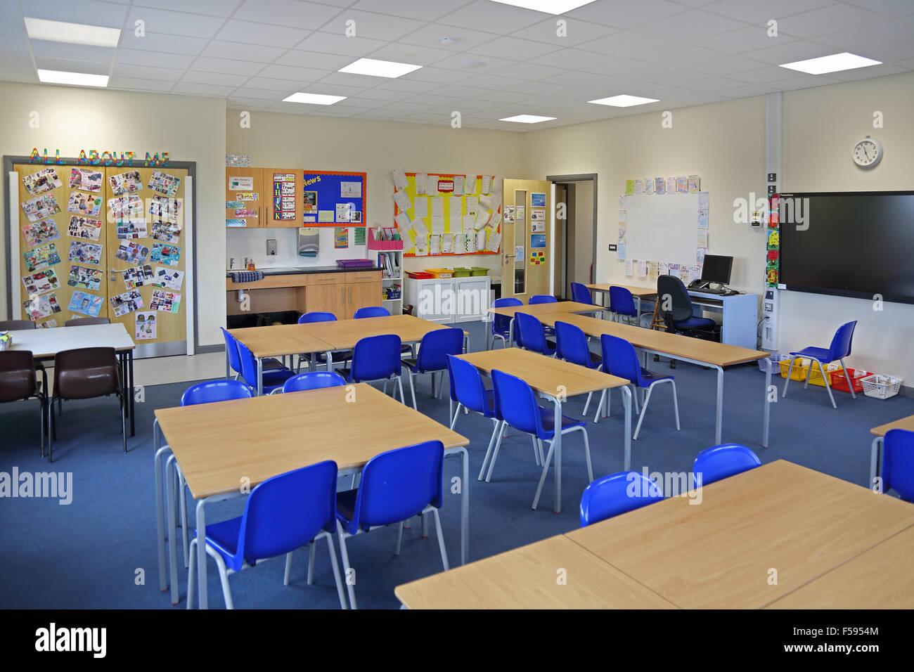 Classroom Design Uk : A classroom in newly built uk junior school shows desks